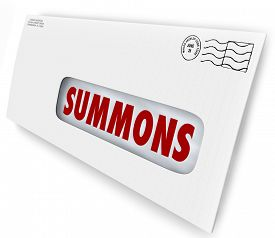 stock photo of jury  - Summons word on an envelope or letter being served to offficially notify you of an obligation to appear in court for jury duty - JPG