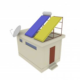 stock photo of solar battery  - Mini house with solar battery isolated from background - JPG