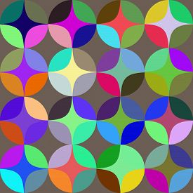 picture of semi-circle  - Vintage abstract seamless pattern with colorfull circles - JPG