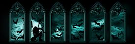 stock photo of vampire bat  - Illustration halloween banner with gothic windows a fallen angel or a vampire night sky with the moon and flying bats hordes on the background - JPG