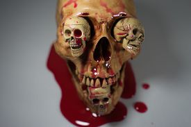 pic of skull cross bones  - SKELETON AND SKULLS BLOOD DROPS ON HALLOWEEN FESTIVAL - JPG