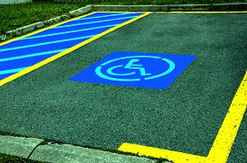 picture of handicapped  - photo of Parking space reserved for Handicapped - JPG