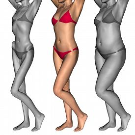 foto of skinny fat  - Concept or conceptual 3D woman or girl as fat - JPG