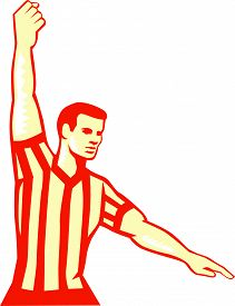 pic of referee  - Illustration of a basketball referee stopping clock holding out other hand for foul set on isolated white background done in retro style - JPG