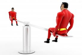 pic of seesaw  - 3d superheros on seesaw concept on white background side angle view - JPG