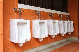 image of urinate  - interior of white urinals in men bathroom toilet - JPG