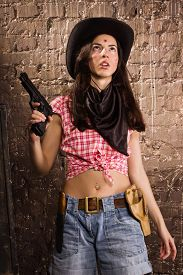 image of gunfights  - Crime scene in a western style - JPG