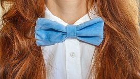 picture of bow tie hair  - model woman with velvet bow - JPG