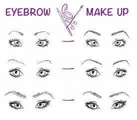 stock photo of eyebrows  - Vector hand drawn illustration of eyebrow line make up - JPG