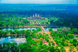 pic of southeast  - Aerial view of Angkor Wat Temple Cambodia Southeast Asia - JPG
