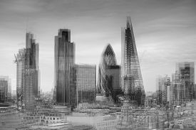 foto of mile  - City of London financial district square mile skyline with double exposure - JPG