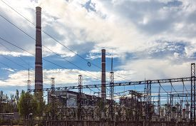pic of transformer  - thermal power plant with transformers tubes and power lines - JPG