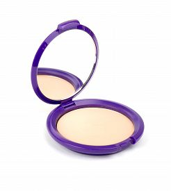 image of face-powder  - Face powder with mirror on isolated white background - JPG
