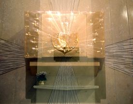 image of tabernacle  - double exposure golden ancient Tabernacle blur almost a dream - JPG