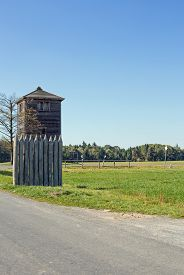 stock photo of reconstruction  - Reconstructed Limes watch tower at Vielbrunn  - JPG