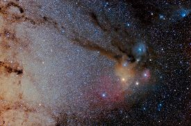 foto of sagittarius  - Star field and nebulae in Sagittarius and Rho Ophiuchus - JPG