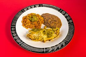 picture of enchiladas  - Enchiladas Verde in High Contrast red black and white Graphics - JPG