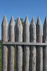 foto of stockade  - Reconstructed Limes palisade at Vielbrunn  - JPG