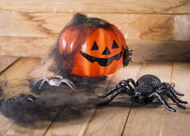 pic of antichrist  - Halloween party toys with pumpkin and spiders - JPG