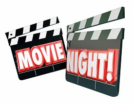 stock photo of matinee  - Movie Night words in red 3d letters on movie clappers to illustrate spending an evening together watching films for entertainment and relaxation at home - JPG