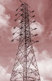 picture of monochromatic  - High voltage electricity pylon and sky background Monochromatic tone - JPG