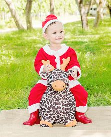 picture of baby doll  - Asian baby boy in santa claus suit is playing with reindeer doll at outdoor park - JPG