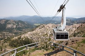 picture of tram  - Dramatic view of a hanging gondola - JPG