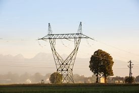 picture of electricity pylon  - Big electricity high voltage pylon with power lines on a green grass in a misty morning near a village - JPG