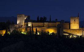 image of nightfall  - Nightfall in La Alhambra Granada Andalucia Spain - JPG