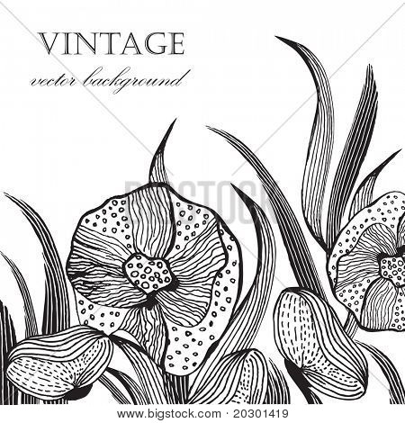 Vintage floral card with handdrawn flowers and leaves