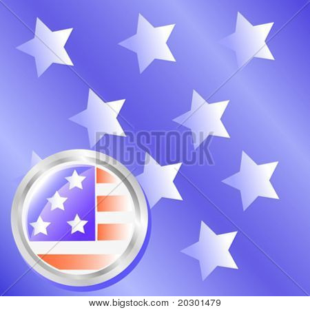 vector drawing American star-striped flag