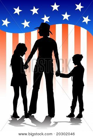 image of mothers and daughters against the backdrop of the American flag