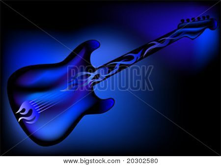 Vector drawing of the electric guitar on a blue background