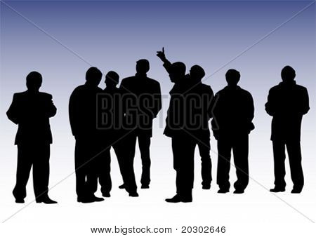 Vector drawing commands businessmen. Silhouettes of people