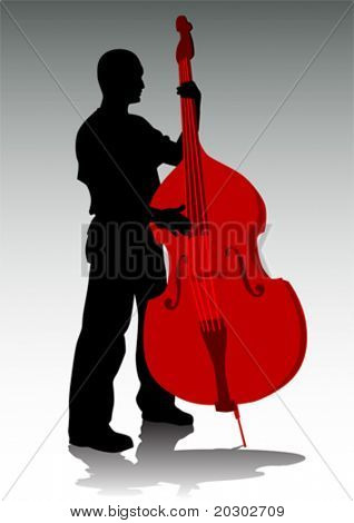 Vector drawing tool bass. A live performance on stage