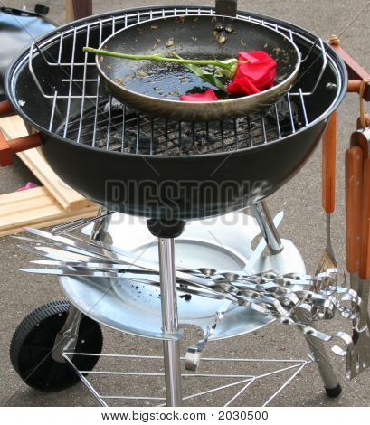 Barbecue Grill And Rose