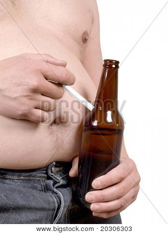 Color photo of a fat man with a beer and a cigarette