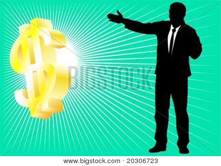 Vector drawing a businessman and a dollar on a green background