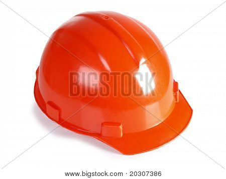 Color photo of an orange construction helmet
