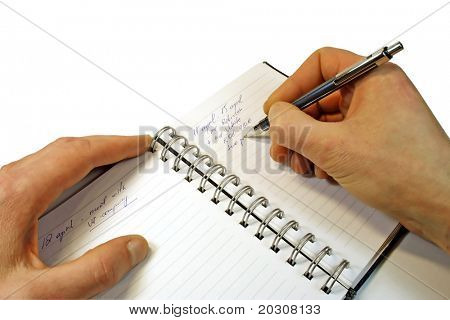 Information in a notebook ( clipping path ).