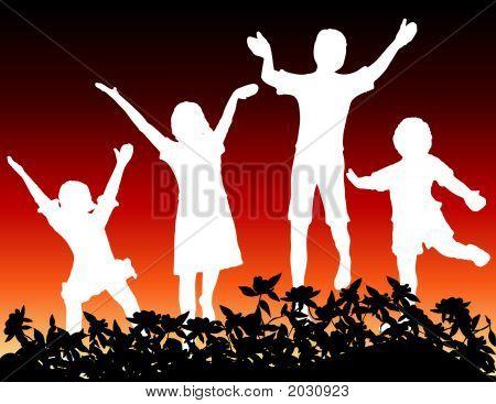 Crianças pulando W-Flora