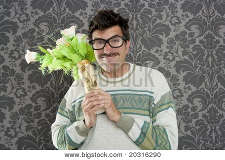 anger funny man violent threat expression with flowers vase