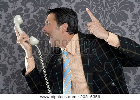 Angry nerd businessman retro telephone call shouting profile wallpaper