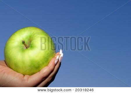 green apple,blue sky