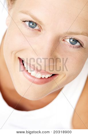 close up smiling young woman