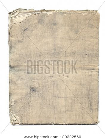 Layers of stained antique paper with extremely worn edge isolated on a white background.