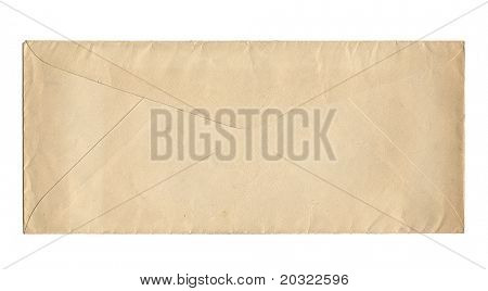 Back of old worn envelope isolated on a white background.