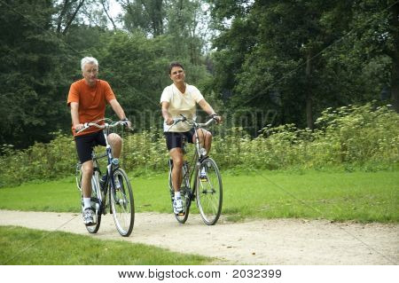 Biking Senior Couple