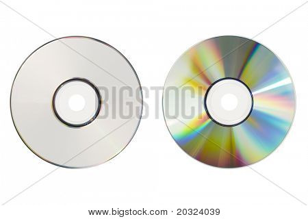 Front and back of a CD-Rom isolated on a white background