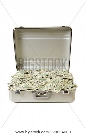 Metal briefcase full of mixed bills in United States Currency, isolated on a white background